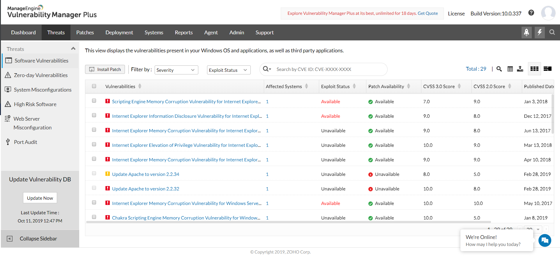 vulnerability analysis detailed view